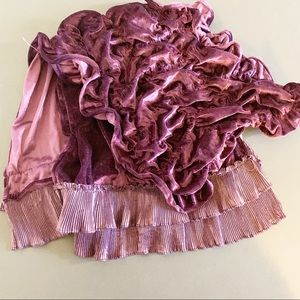 Velvet Rouched Scarf with silk Edging!